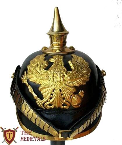 Medieval leather Brass Chin strip set german helmet Pickelhaube Prussian sca