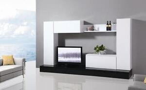 Mobile soggiorno parete attrezzata mdf bianco e nero l for Parete rossa soggiorno
