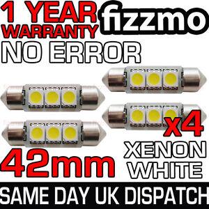 4x-42mm-264-C5W-SV8-5-6000k-BRIGHT-WHITE-3-SMD-LED-FESTOON-LIGHT-BULB-ERROR-FREE