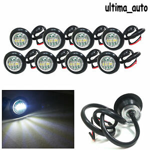 8x-24v-Perfil-Redondo-Delante-Marcador-LED-luz-blanca-luces-para-MAN-DAF