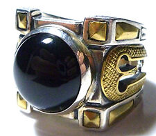 KONSTANTINO MYRMIDONES STERLING SILVER BRONZE ONYX BIKER ROMAN WARRIOR MENS RING
