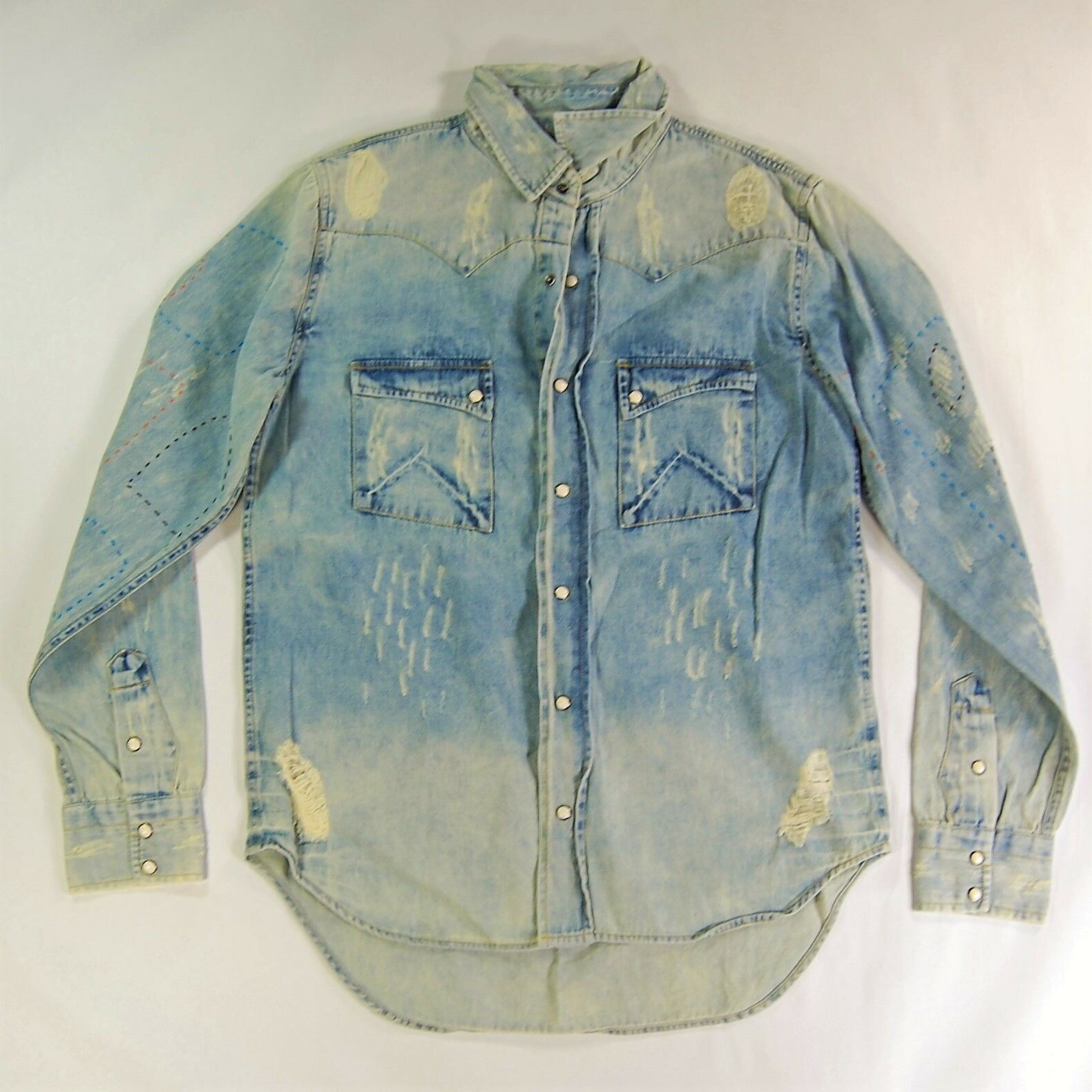 New ARTISAN DE'LUXE stitched distressed DESTROYED DENIM button down shirt S