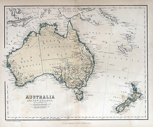 Map Showing Australia And New Zealand.Australia New Zealand Vintage Map Print Poster Paper For Glass Frame