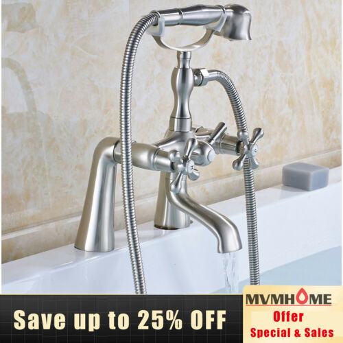 Brushed Nickel Deck Mounted Bathtub Faucet 2 Knobs Mixing Tap with Hand Shower