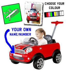 front (+back?) personalised kids number plate for mini cooper push