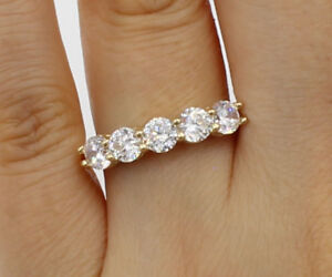 1.75 ct 14k real yellow gold five 5 stones round wedding anniversary