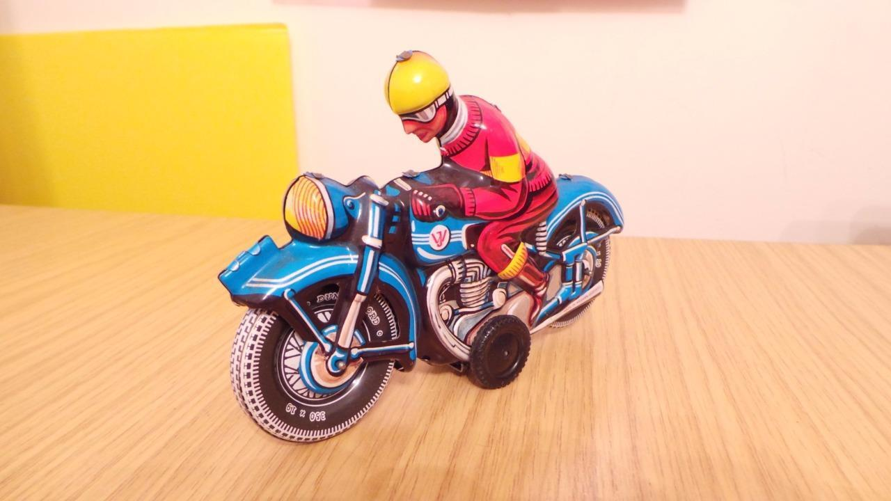 P209  WJ West German Tin Plate Touring Motorbike with Rider