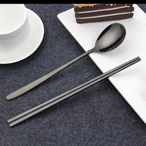 Pro Stainless Steel Portable Spoons /& Chopsticks Kitchen High Grade Tableware