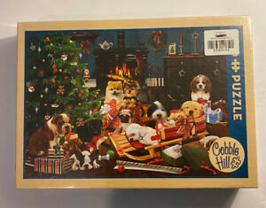 Cobble-Hill-Christmas-Puppies-Dogs-500-Piece-Jigsaw-Puzzle-NEW-SEALED
