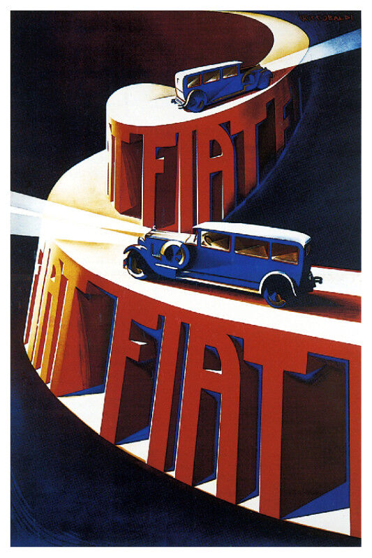Early FIAT Vintage ad POSTER.Stylish Graphics.Room Decor.Art Deco.231