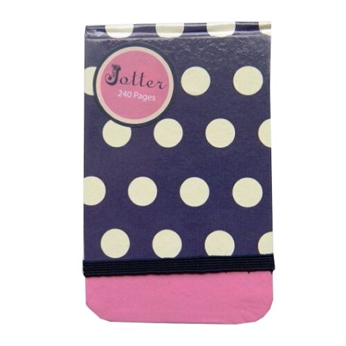 Polka Dot Design – 240 Pages – Ruled Size 126mm x 80mm Jotter Notebook