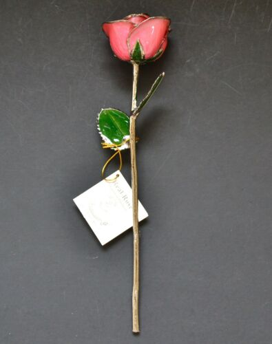 NEW LIVING GOLD SILVER PLATINUM+GOLD NATURAL RED+PINK REAL ROSE FLOWER