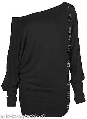 Womens PLUS SIZE Batwing Top Plain Long Sleeve Off Shoulder Big Size Tshirt Top
