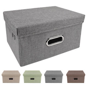 Storage-Bins-Collapsible-Stackable-Linen-Fabric-Cubes-Boxes-Containers-Organizer