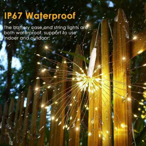 Hanging Firework LED Fairy String Light Remote 8Modes Christmas Party Xmas Decor