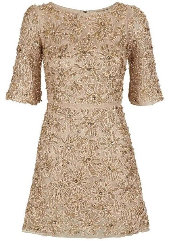 Alice + Olivia Drina Embellished Mesh Dress Nude pink gold Size 6 NWOT