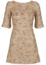 46757b7e10 Alice Olivia Nude Embellished Silk Sleeveless Mini Sheath Dress Size ...