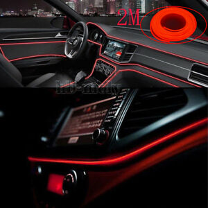 Cold-El-Decor-Interior-Wire-Red-Strip-Neon-Car-Light-Atmosphere-Unique-2M-Lamp
