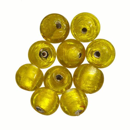 P14//1 Rond 10 mm argent doublé perles de verre jaune transparent Pack de 10