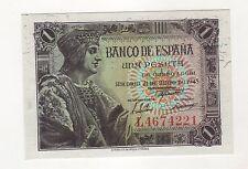 Spain España 1 Peseta 1943 Pick 126 UNC Uncirculated Banknote