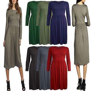 Women Ladies Stretch Long Sleeve Swing Dress Frankie Skater Dress Top size 8-26