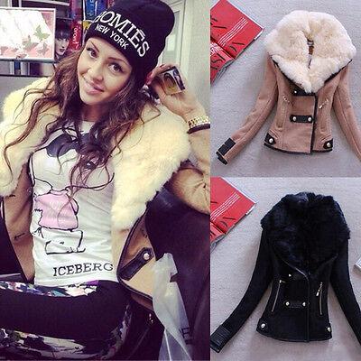 2015 New Women Winter Warm Faux Fur Collar Short Slim Jacket Coat Tunic Outwear