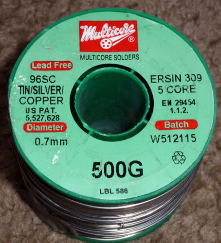 3 sizes 1 or 2  mtrs of Genuine Multicore 96SC Lead-free solder  3.8/% Silver