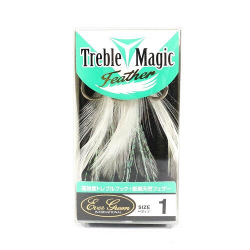4106 Evergreen Treble Hooks Treble Magic Feather Size 1