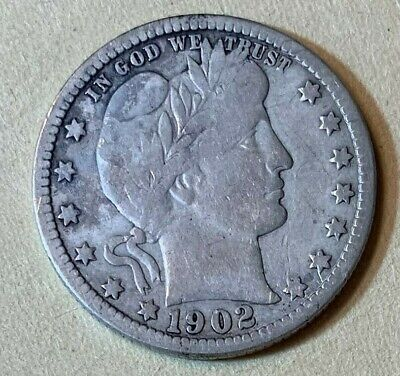 1902 25c Barber Silver Quarter Average Circulated