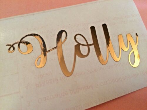 Metallic Rose Gold Personalised Name Sticker Baubles Vinyl Wine Glass Decal