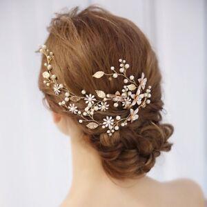 Perlen-Blume-Haarbekleidung-Stirnband-Hochzeit-Braut-Haar-Kette-Kopfstueck