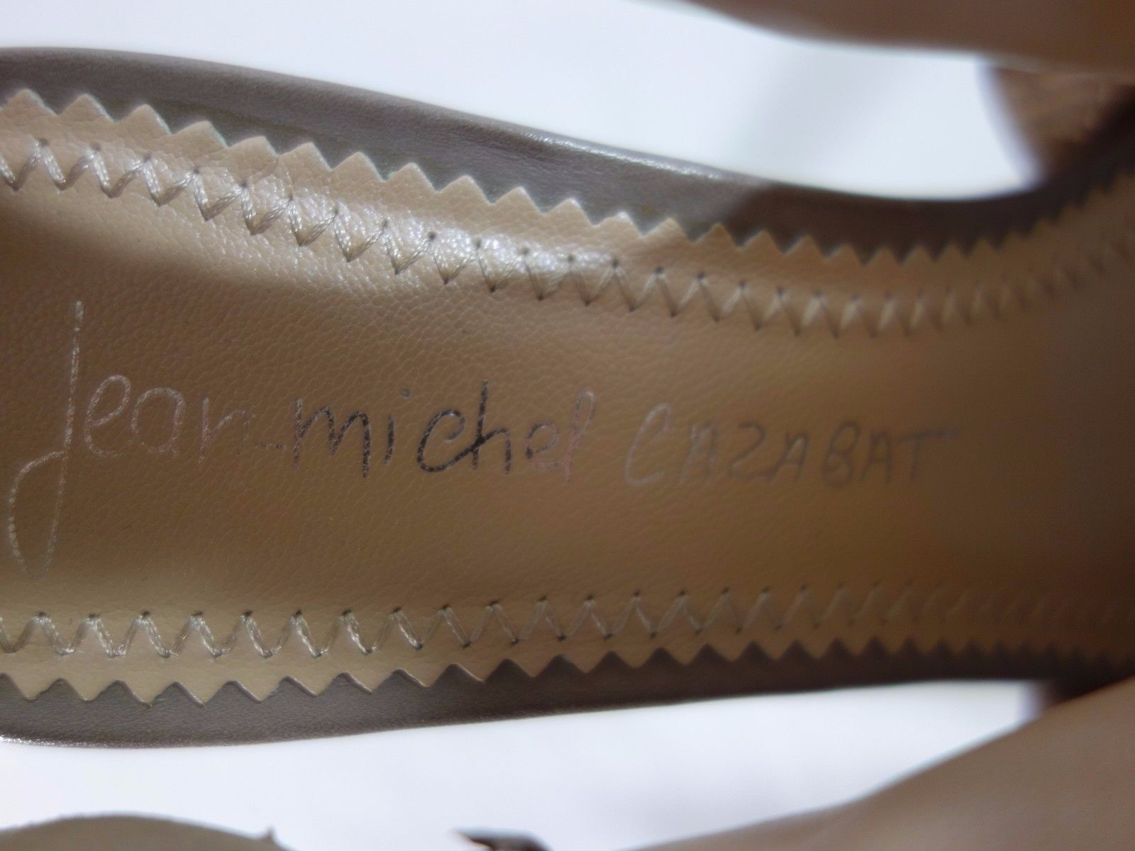 Jean Michel Toe, Cazabat Taupe Leder Platform Slides, Peep Toe, Michel  Heels 38 372d78