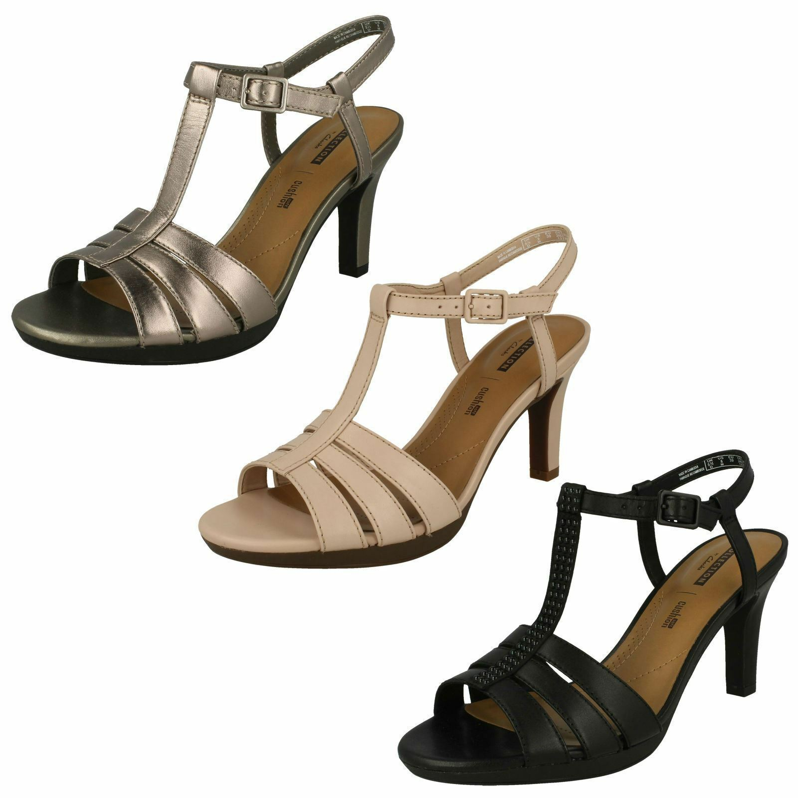 LADIES CLARKS LEATHER SLINGBACK HEEL STRAPPY SMART SANDALS Schuhe ADRIEL TEVIS