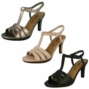 Image is loading LADIES-CLARKS-LEATHER-SLINGBACK-HEEL-STRAPPY-SMART-SANDALS-