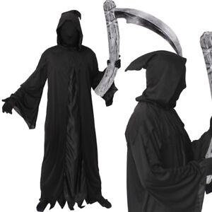 Noir à capuche Cape velours Unisexe Halloween Costume Robe fantaisie Grim Reaper La Mort