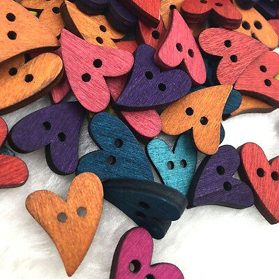 20/50/100pcs Mix Heart 2 Holes Wood Button Kid's Sewing Crafts Accessorie W356
