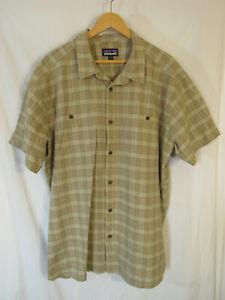 Patagonia-Men-039-s-Back-Step-Short-Sleeve-Button-Up-Shirt-Size-XXL-2XL-Tan-Plaid