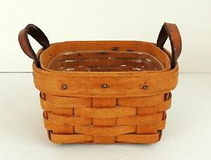LONGABERGER-Basket-039-94-Leather-Handles-Handmade-Ohio-Liner-5-034-x-5-034-x-3-034-Signed