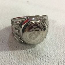 Men's Stainless Steel Marine Corps Armed Forces Ring Sz. 10 New JO