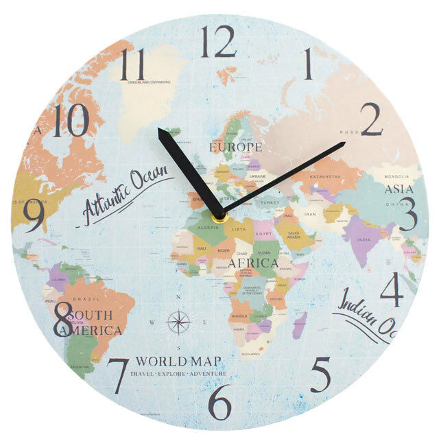 Colourful world map design hanging wall clock large numbers homeware resntentobalflowflowcomponenttechnicalissues gumiabroncs Image collections