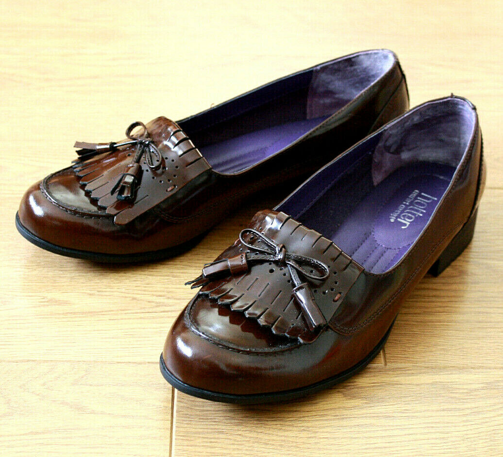 Hotter Shipley Ladies Slip on Brown Leather Loafer Shoes Extra Wide UK 8 EU 42