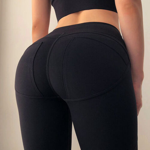 Women Sport Pants High Waist Yoga Fit Leggings Push Up Gym Scrunch Trousers M922