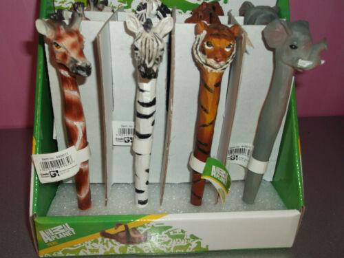 Edle Holzkugelschreiber Tiermotiv Handgeschnitz verschiedene Motive Neu !