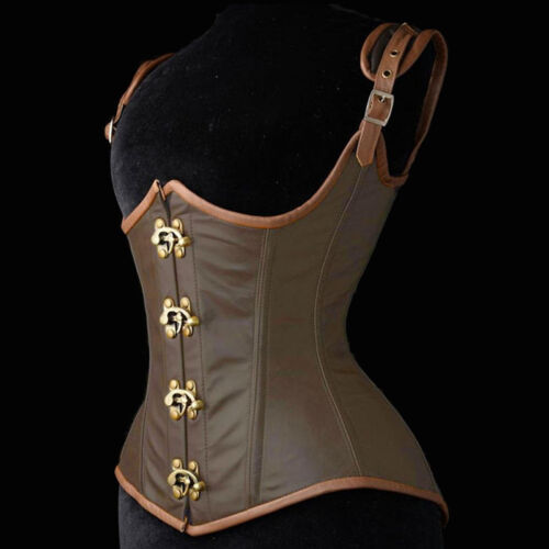 UK Women Black Bustier Corset Boned Overbust Burlesque Basque lingerie Goth TFS