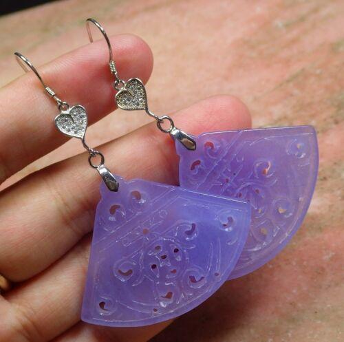 Lavande Argent Sterling 925 Jade boucle d/'oreille dangle Ventilateur Pièce Fleur RUYI 301657