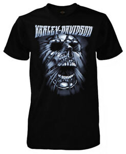 Harley-Davidson-Men-039-s-Stretched-Skull-Short-Sleeve-Crew-T-Shirt-Solid-Black