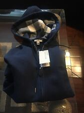 NEW Burberry Men Navy Blue Sweater Chest Logo Nova Check Plaid Hoodie  L $325