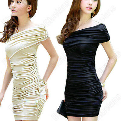 Short Sleeve Slim Fold Evening Cocktail Club Party Mini Dress Women'S Fashion