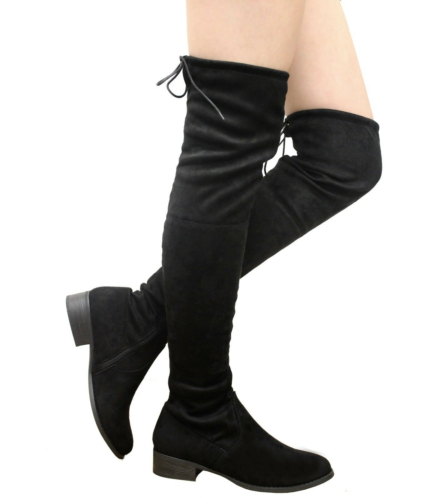 cde99a04d Details about Ladies Womens Thigh High Over The Knee Boots Stretch Lace Up  Mid Heel Shoes Size