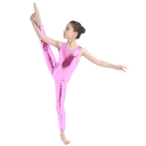 Girls Gymnastics Full Bodysuit Ballet Dance Leotard Kid Shiny Dancewear Jumpsuit
